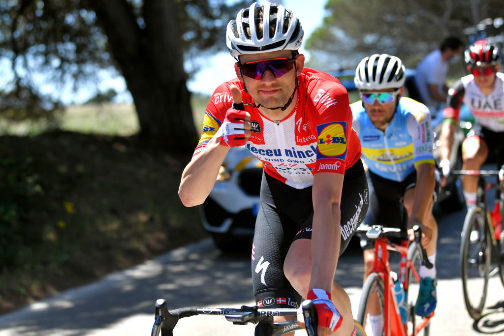FOIA PORTUGAL MAY 06 Kasper Asgreen of Denmark and Team Deceuninck QuickStep during the 47th Volta Ao Algarve 2021 Stage 2 a 1828km stage from Sagres to Fia 890m VoltAlgarve VAlgarve2021 on May 06 2021 in Fia Portugal Photo by Luc ClaessenGetty Images