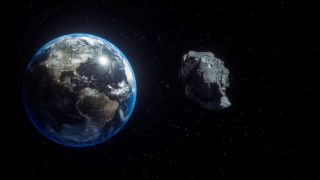 3D illustration of an asteroid flying past Earth.
