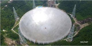 This photo shows the 500-meter Aperture Spherical Telescope in southwest China's Guizhou Province.