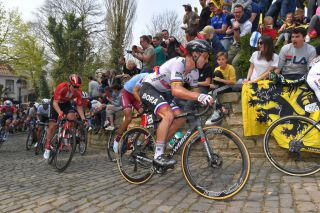 Former Tour of Flanders winner Peter Sagan (Bora-Hansgrohe) takes on the Muur van Geraardsbergen during the 2019 edition of the race