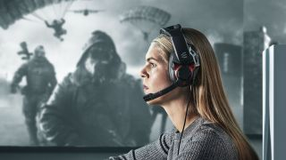 EPOS Gaming headset brand imagery of person wearing headset