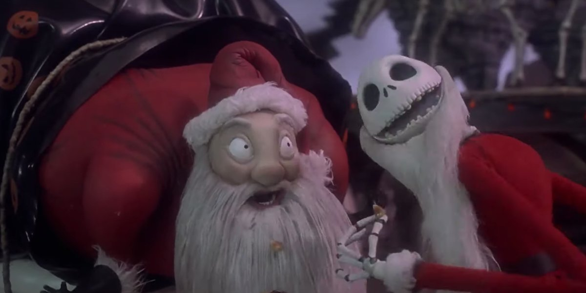 Jack Skellington meets Santa Claus in The Nightmare Before Christmas