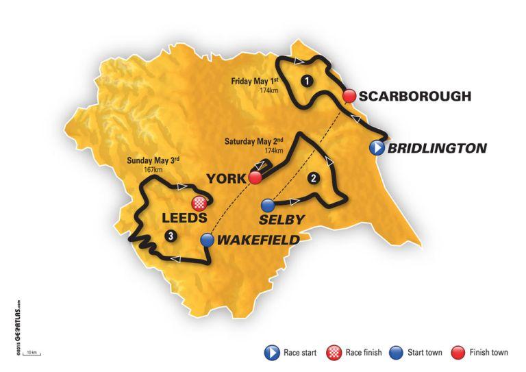 Tour de Yorkshire 2015 map