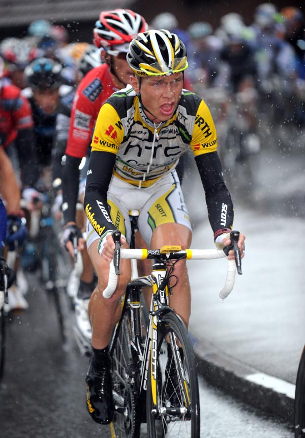 Tony Martin suffers, Tour de Suisse 2010, stage 5