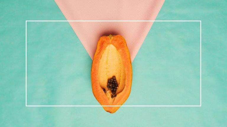 papaya on green and pink background
