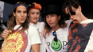 A shot of the red hot chili peppers in their early days