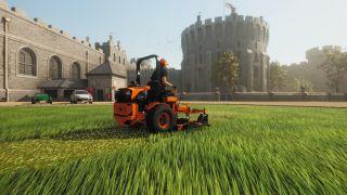 Mowing a lawn near a castle