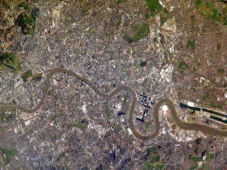 London seen in a photo taken by an astronaut