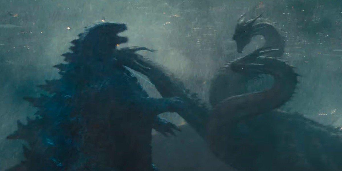 Godzilla fighting the three-headed King Ghidorah