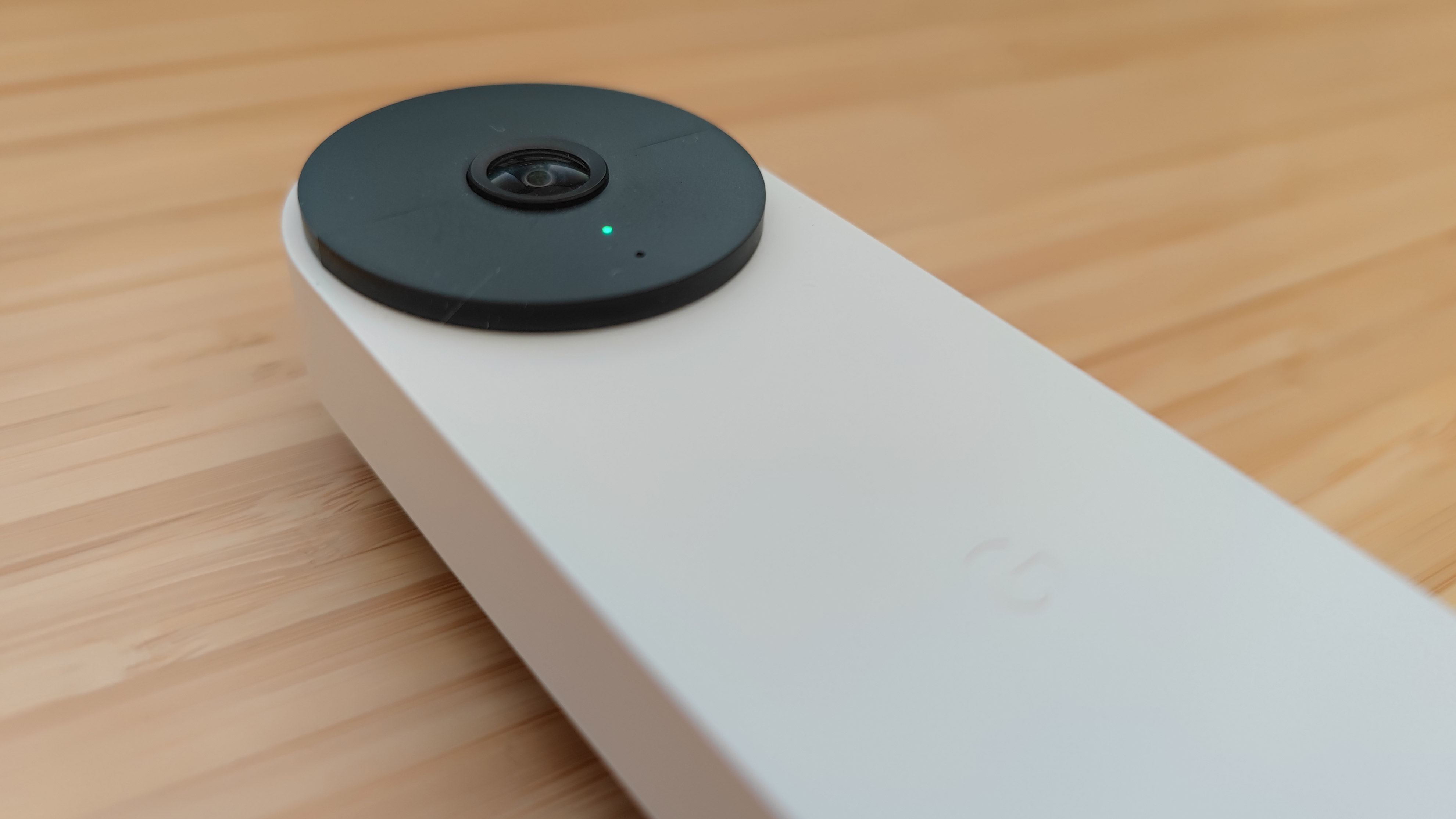 A close up of the camera len on the Google Nest Doorbell (battery)