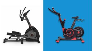Exercise bikes versus ellipticals: An image of an elliptical machine on a white background, sat next to a stationary bike on a bright blue background