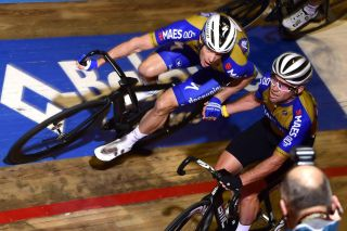Iljo Keisse and Mark Cavendish make a changeover at the 2019 Gent Six Day