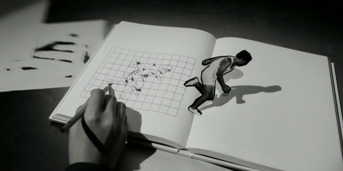 A dramatization of the creation of pictograms at the Opening Ceremony