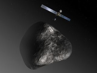 Rosetta Spacecraft Deploying Philae Lander on Comet Artist Impression