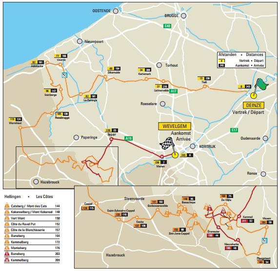 2016 Gent-Wevelgem race map