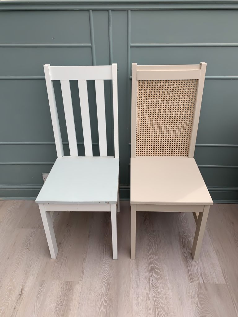Before and after DIY cane dining chairs