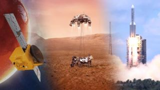 """Left: An illustration shows the United Arab Emirates orbiter """"Hope."""" Center: An illustration shows the skycrane lowering NASA's rover Perserverance to the Martian surface. Right: A still shows a Chinese Long March 5 rocket hefting Tianwen-1 into space."""