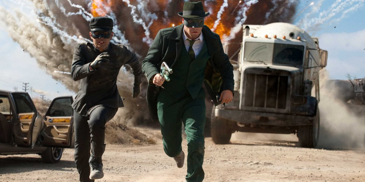 The Green Hornet Kato and The Green Hornet run away from an explosion