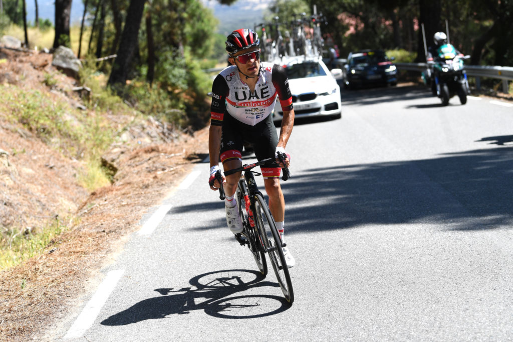 EL BARRACO SPAIN AUGUST 29 Rafal Majka of Poland and UAE Team Emirates attacks in breakaway during the 76th Tour of Spain 2021 Stage 15 a 1975km km stage from Navalmoral de la Mata to El Barraco lavuelta LaVuelta21 on August 29 2021 in El Barraco Spain Photo by Tim de WaeleGetty Images