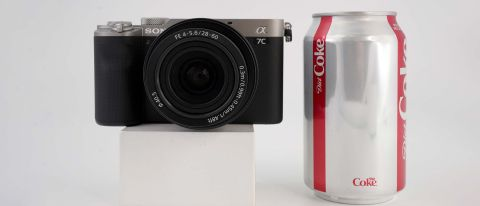 Sony A7C review — Sony A7C next to a Coke can