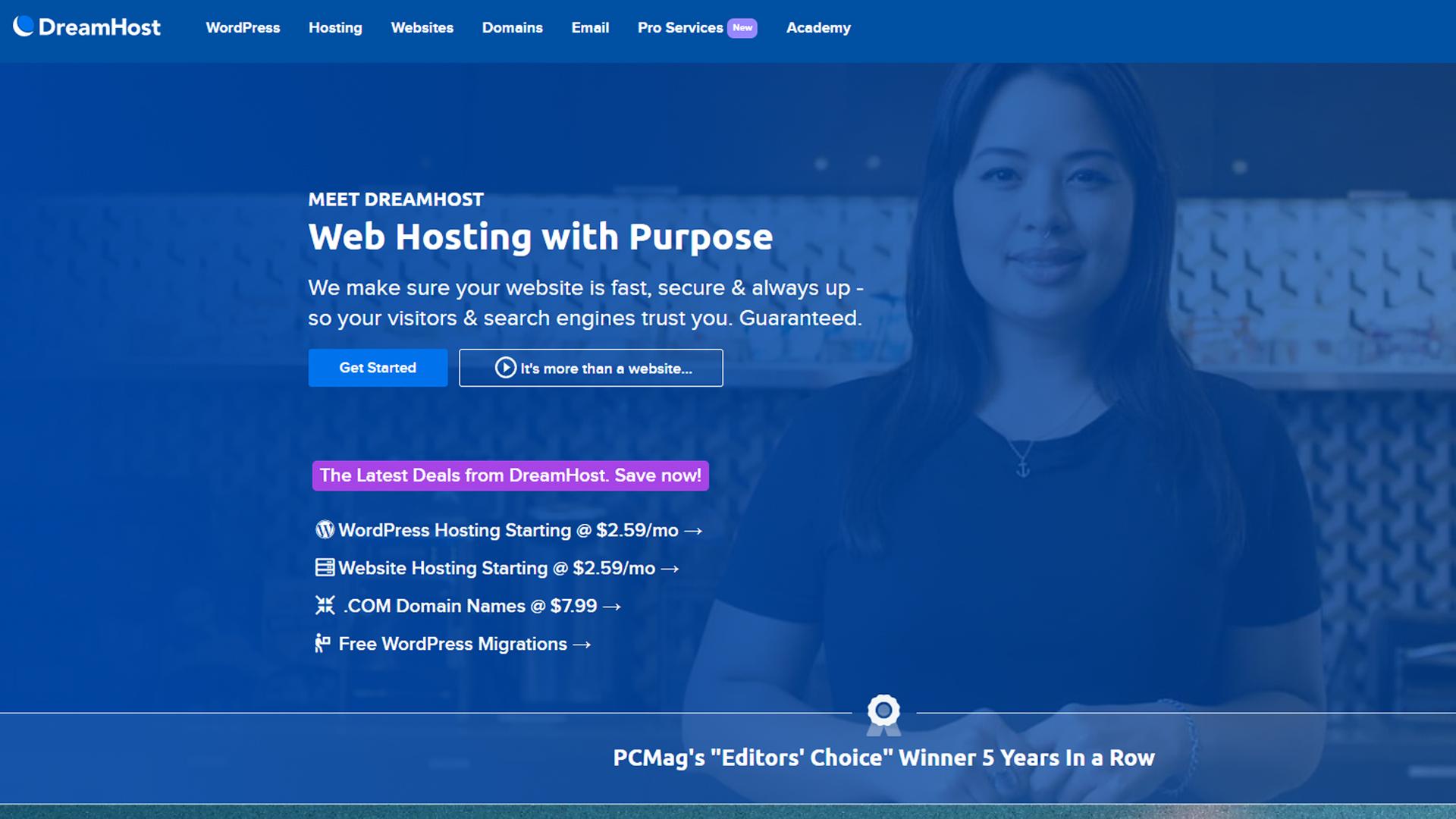 DreamHost's homepage