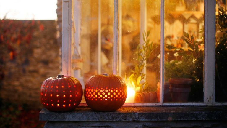 pumpkin carving ideas: carved pumpkin with dot pattern