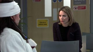 Abi Franklin talks to Nina in Coronation Street
