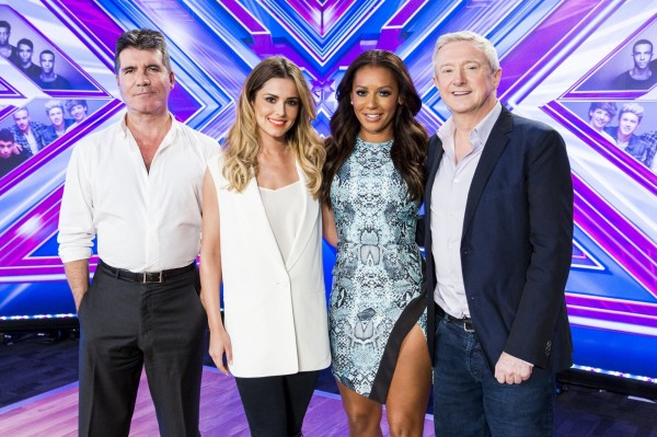 A picture of Simon Cowell, Cheryl Fernandez-Versini, Mel B and Louis Walsh