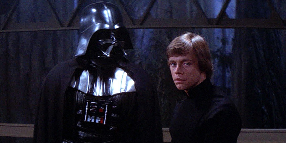 David Prowse as Darth Vader and Mark Hamill as Luke Skywalker in Return of the Jedi (1983)