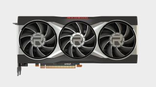 AMD Radeon RX 6900 XT graphics card render on off-white background