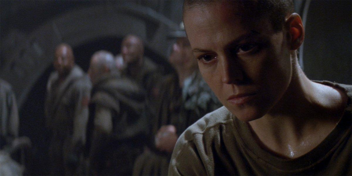 Alien 3 Ripley and her fellow prisoners looking hopeless
