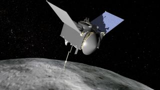An artist's concept of NASA's OSIRIS-REx asteroid sampling spacecraft at the asteroid Bennu. The probe is due to return samples to Earth in 2023. Today (Nov. 12, 2019), NASA announced the four potential landing sites for the craft to touch down at.