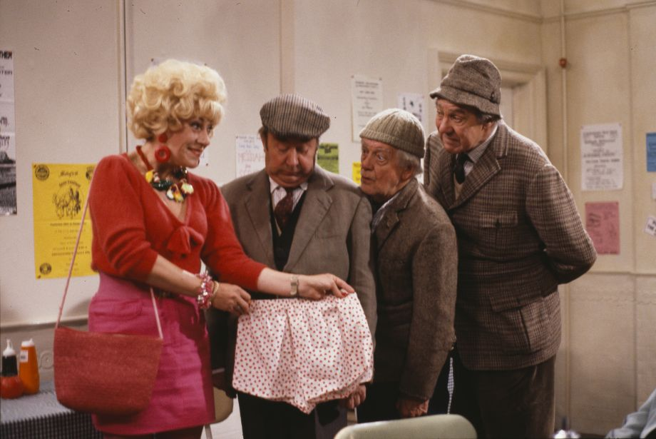 Jean Fergusson, Peter Sallis, Bill Owen and Michael Aldridge in a scene from episode 'The Kiss and Mavis Poskit' of the BBC television sitcom 'Last of the Summer Wine', October 15th 1989