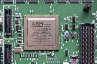 Image showing an ARM V8-A CPU on a circuitboard.