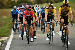 LEKUNBERRI SPAIN OCTOBER 21 Primoz Roglic of Slovenia and Team Jumbo Visma Red Leader Jersey George Bennett of New Zealand and Team Jumbo Visma Tom Dumoulin of The Netherlands and Team Jumbo Visma Robert Gesink of The Netherlands and Team Jumbo Visma during the 75th Tour of Spain 2020 Stage 2 a 1516km stage from Pamplona to Lekunberri lavuelta LaVuelta20 La Vuelta on October 21 2020 in Lekunberri Spain Photo by David RamosGetty Images