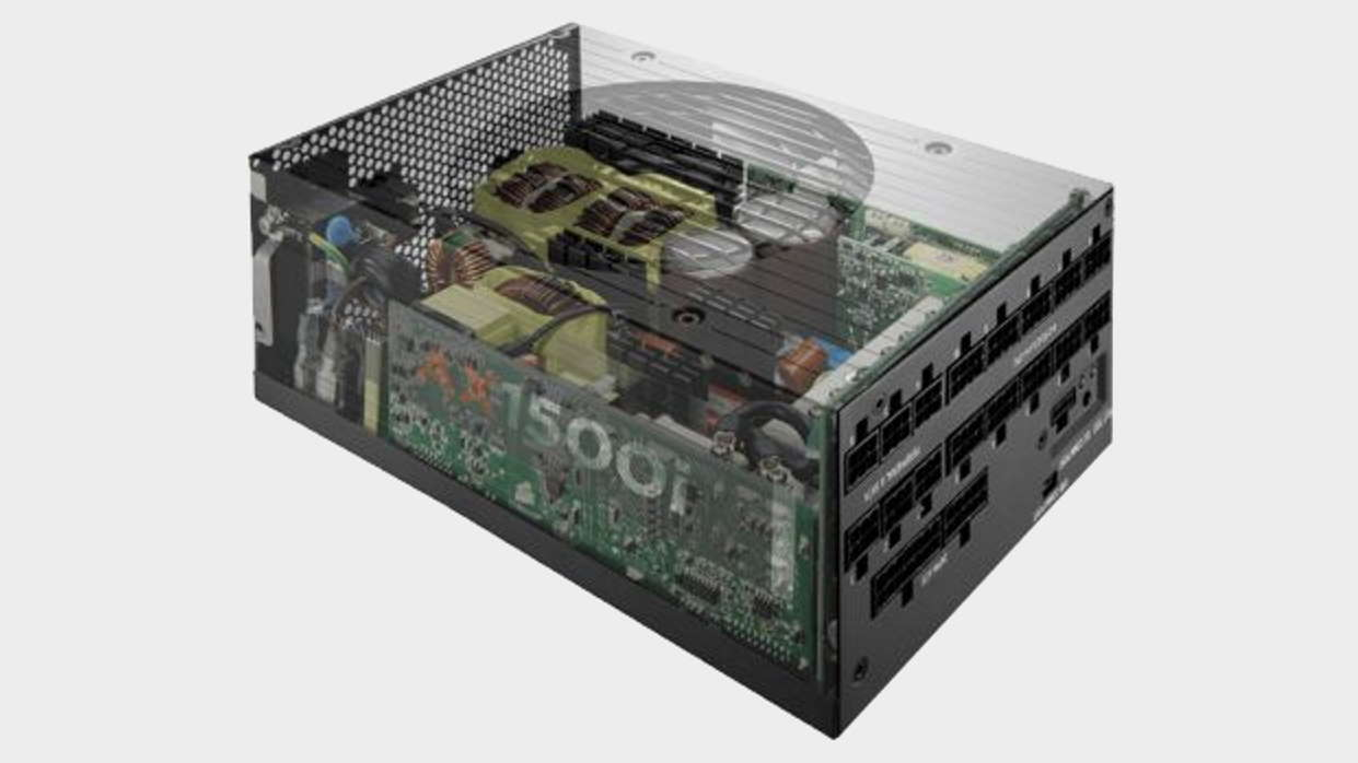 Transparent illustrative image of the inside of a Corsair power supply
