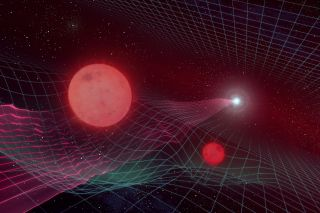 An artist's illustration shows two red dwarf stars warping space-time with their gravitational pull, distorting the view of a star much farther away.