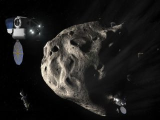 Concept Image of Twin SEVs Approaching an Asteroid