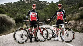 Lotto Soudal's Philippe Gilbert and Tim Wellens with the Ridley Helium SLX Disc bikes