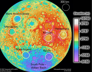 The only six sites on the farside of the Moon suitable for telescope arrays of around 200km across.