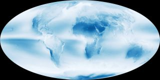 NASA satellite image of average cloud cover over Earth's surface.