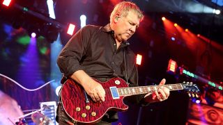 Alex Lifeson of Rush performs in concert at the Austin360 Amphitheater on May 16, 2015 in Austin, Texas.