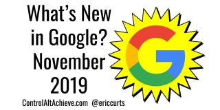 """What's New in Google? November 2019"" with yellow starburst and Google ""G"""
