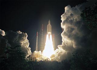 Ariane 5 GS Lofts Indian, European Satellites into Orbit