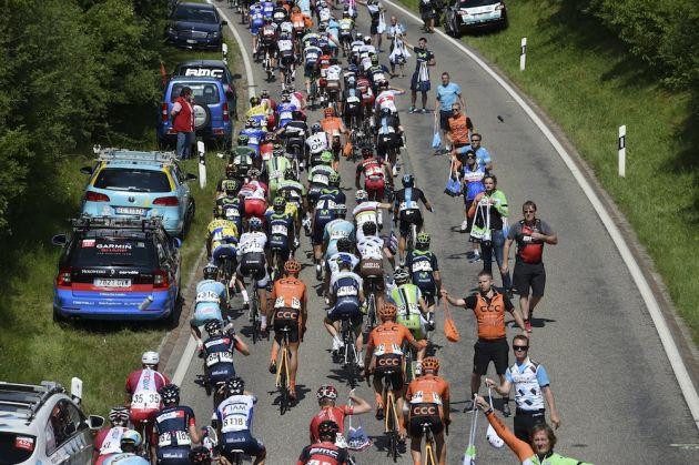 Photo: The feed zone on stage four of the 2014 Tour de Suisse (Watson) .
