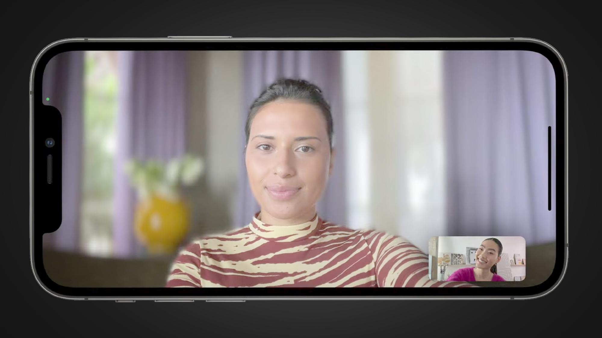 An iPhone running a Facetime video call