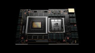 Nvidia Grace data center CPU on black background