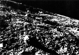 Luna 9 - the first successful lunar lander launched by the Soviet Union in 1966 - snapped this image of the lunar surface.
