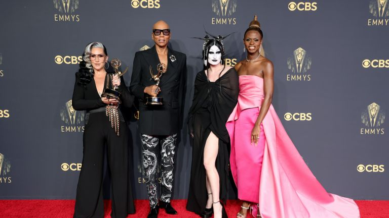 Michelle Visage, RuPaul, Gottmik, and Symone, winners of the Outstanding Competition Program award for 'RuPaul's Drag Race,' pose in the press room during the 73rd Primetime Emmy Awards at L.A. LIVE on September 19, 2021 in Los Angeles, California.