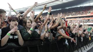 A picture of fans at a Green Day gig in London